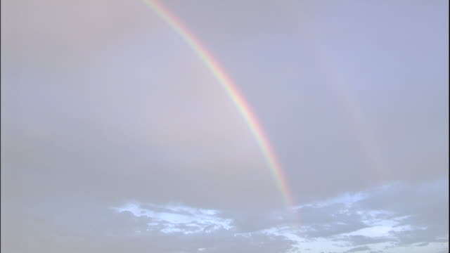 a double rainbow arcs over the tokyo skyline. - 虹点の映像素材/bロール