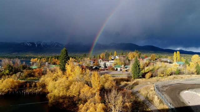 double rainbow in whitefish, mt - railing stock videos & royalty-free footage