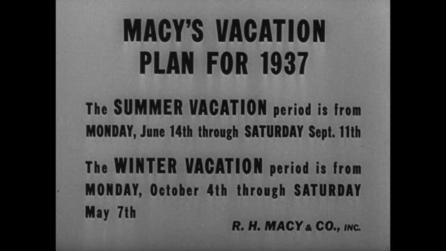 stockvideo's en b-roll-footage met vacations doubledecker bus on city street employee notice for summer or winter vacation choice new york city ext macy's macy's president percy... - 1937