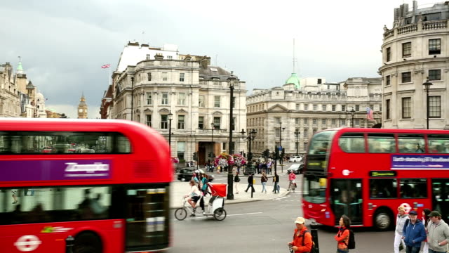 double-decker buses in london, england - city of london stock videos & royalty-free footage