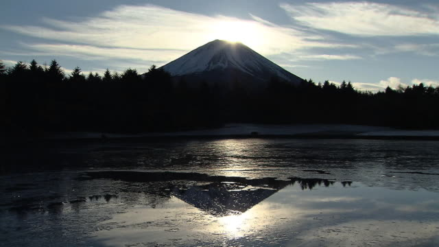 """double-diamond fuji"" on new year's day, japan - light natural phenomenon stock videos & royalty-free footage"
