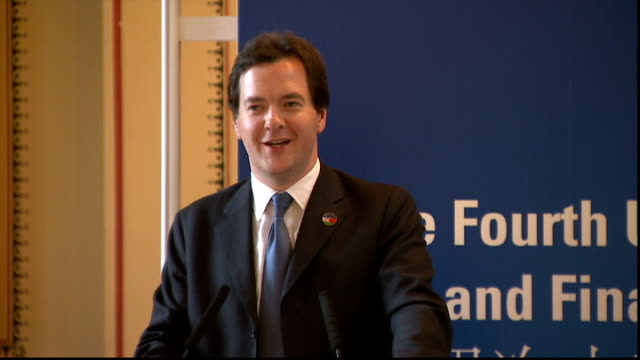george osborne press conference osborne press conference sot [asked about oecd downgrading uk growth forecast and his 'fruity' language at the gq... - oeec video stock e b–roll