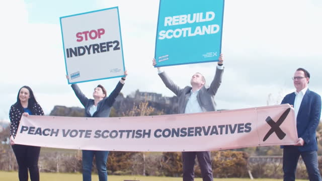 douglas ross, leader scottish conservatives, campaigning in the scottish elections at stirling castle - western europe stock videos & royalty-free footage
