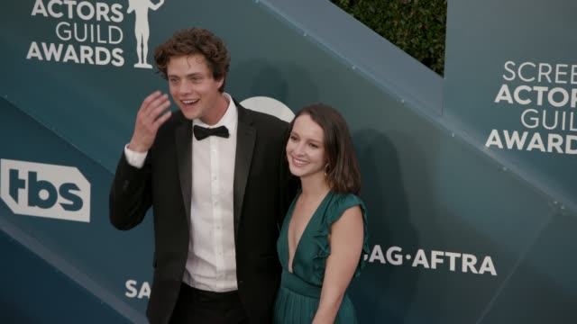douglas smith and tricia travis at the 26th annual screen actors guild awards - arrivals at the shrine auditorium on january 19, 2020 in los angeles,... - screen actors guild awards stock videos & royalty-free footage