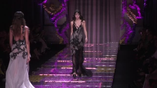 doutzen kroes karlie kloss kendall jenner lara stone and joan smalls on the runway of the versace haute couture fashion show in paris paris france on... - joan smalls stock videos & royalty-free footage
