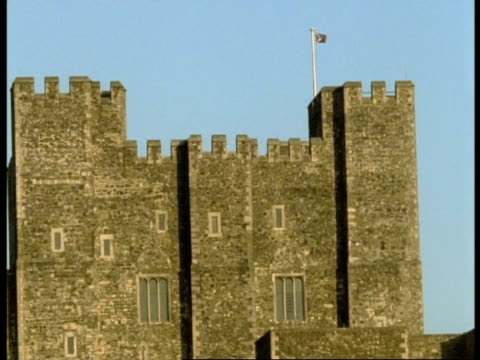 Dover Castle - castle tower flying British Union Jack flag