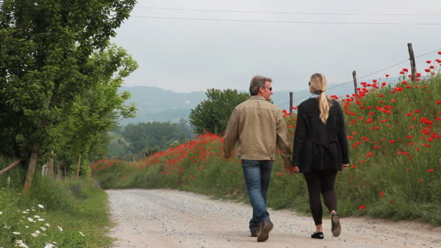 PAN down as couple walk along rural road, red poppies