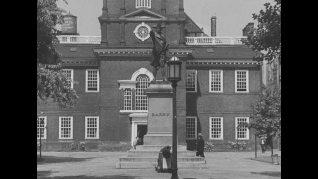 down from tower to ground of independence hall / note: exact year not known; documentation incomplete - independence hall stock videos & royalty-free footage