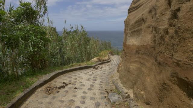 pov down stone donkey trail on azores island - アゾレス諸島点の映像素材/bロール