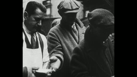 down-and-out men lined up for hot soup and bread / a hobo eats a loaf of bread in front of a restaurant's sign / note: exact year not known - great depression stock videos & royalty-free footage