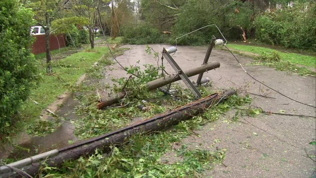 downed power lines and utility pole during hurricane florence in wilmington, north carolina on september 14, 2018. - wilmington north carolina stock videos & royalty-free footage