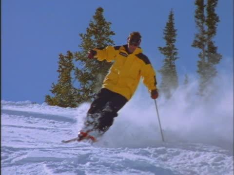 vídeos de stock e filmes b-roll de downhill skier - bastão de esqui