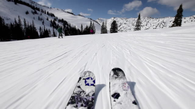 ws pov downhill skiing at ski resort on clear sunny day / alta, utah, usa - skifahren stock-videos und b-roll-filmmaterial