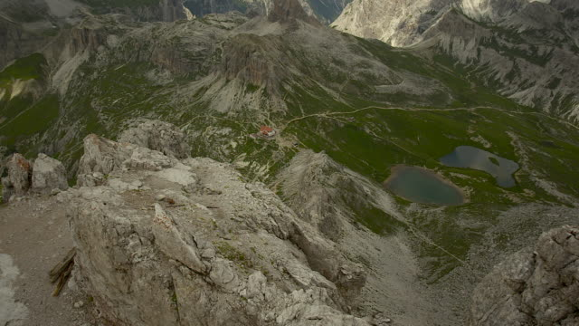 downhill, three peaks hut and mountain lakes - tre cimo di lavaredo stock videos & royalty-free footage