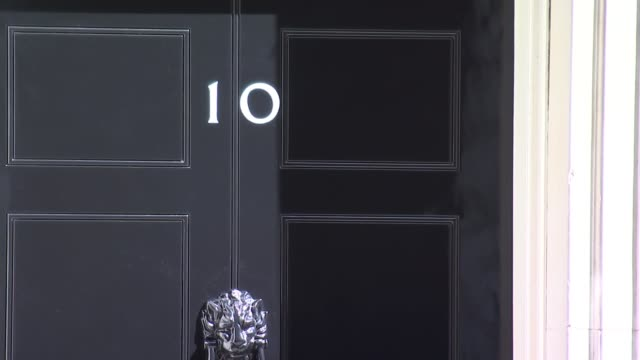 london downing street ext penny mordaunt mp from car and into no 10 / larry the cat on front step / theresa may mp from no 10 and into car - downing street stock-videos und b-roll-filmmaterial