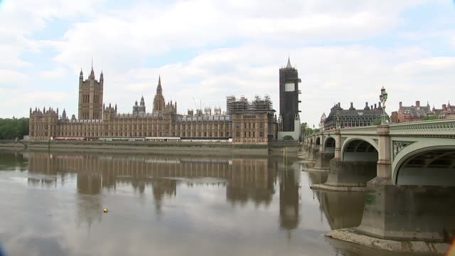 downing street and houses of parliament general views; england: london: albert embankment: ext wide shot houses of parliament and the river thames /... - parliament building stock-videos und b-roll-filmmaterial