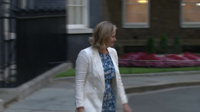 vídeos y material grabado en eventos de stock de downing street arrivals and departures england london westminster downing street ext julian smith mp arriving / alister jack mp arriving / amber rudd... - amber smith