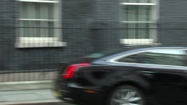 downing street arrivals and departures gavin barwell departs / juri ratas arriving in car / greg clark and claire perry depart / jeremy hunt departs... - andrea leadsom stock-videos und b-roll-filmmaterial