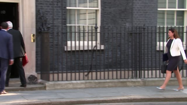 vídeos y material grabado en eventos de stock de downing street cabinet arrivals; england: london: downing street: ext david davis mp walking up towards number 10 / caroline nokes mp / james... - greg james
