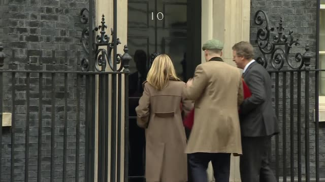 downing street cabinet arrivals; england: london: westminster: downing street: ext theresa villiers mp arriving at number 10 / andrea leadsom mp... - welsh culture stock videos & royalty-free footage