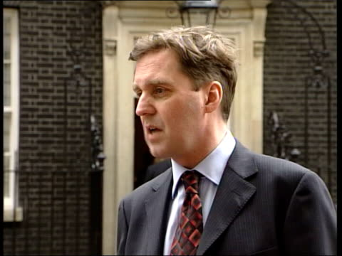 downing street ext alan milburn mp up to press and speaking sot surprised by what clare had to say/ thought she would have wanted to raise those... - disarmament stock videos and b-roll footage