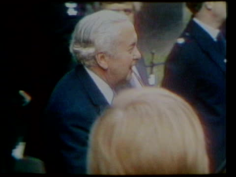 ext harold wilson out of no10 and waves as along to car margaret thatcher leaving no10 after resigning - harold wilson stock-videos und b-roll-filmmaterial