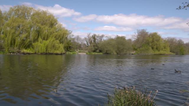 downing street flat renovation: senior minister dismisses row as 'tittle tattle'; england: london: uxbridge: ext sign 'little britain lake' gvs of... - bird stock videos & royalty-free footage