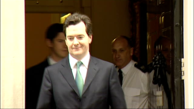 george osborne departing number 10 baroness sayeeda warsi pc arriving at no 10, standing on steps for photocall - baroness stock videos & royalty-free footage
