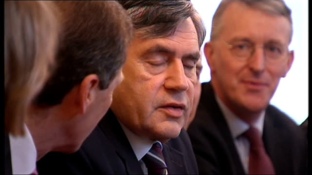 stockvideo's en b-roll-footage met photography** newlyreshuffled cabinet seated at cabinet meeting chaired by prime minister gordon brown mp - prime minister
