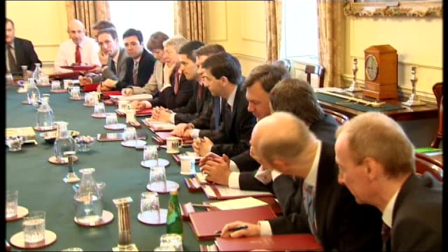 newly-re-shuffled cabinet seated at cabinet meeting chaired by prime minister gordon brown mp david miliband mp seated next to alan johnson mp peter... - douglas alexander stock videos & royalty-free footage