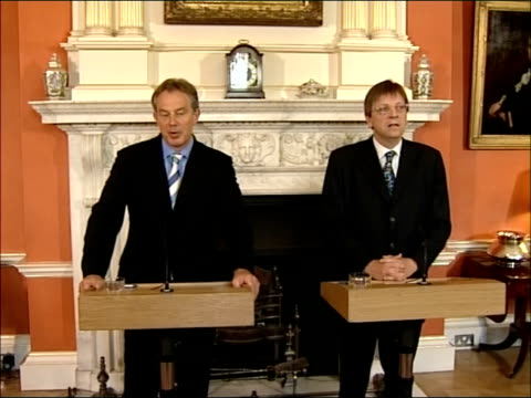 downing street press conference with belgian prime minister verhofstadt and blair into room and up to podiums for press conference / tony blair press... - addition key stock videos & royalty-free footage