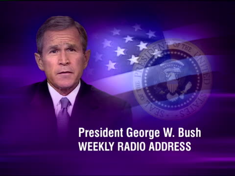 Downing Street talks/Bush radio address/Saddam offer POOL STILL George W Bush with audio of his weekly radio address SOT we must recognise some...