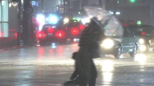 vídeos y material grabado en eventos de stock de downpour by typhoon in shibuya, tokyo, japan - lluvia torrencial