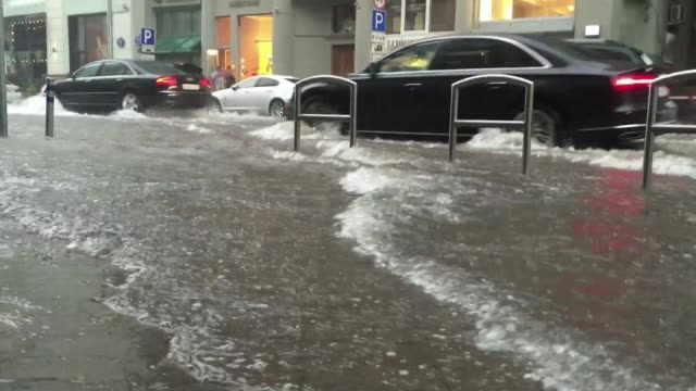 downpour in moscow - flooded streets - moscow russia stock videos & royalty-free footage