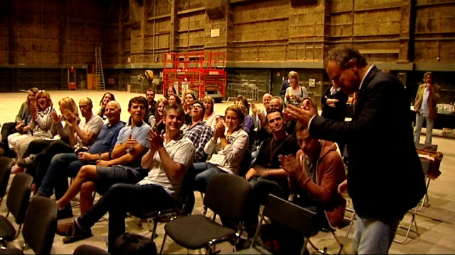 Downton Abbey nominated for 16 Emmy Awards ENGLAND London Cast and crew of Downton Abbey applauding Hugh Bonneville along to join others and...