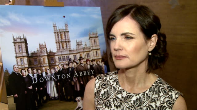 Downton Abbey Series 5 interviews Elizabeth McGovern interview SOT McGovern chatting / Hugh Bonneville chatting / poster Raquel Cassidy and Kevin...