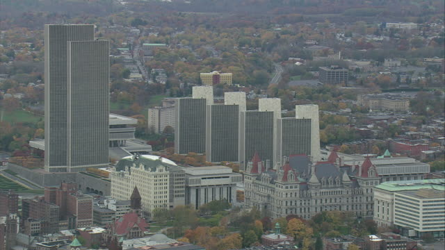 aerial downtown albany / albany, new york, united states - albany new york state stock videos & royalty-free footage