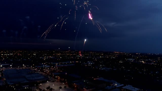 downtown amarillo fourth of july fireworks texas - firework display stock videos & royalty-free footage