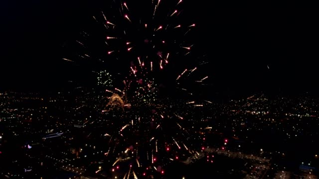Downtown Amarillo with Fourth of July Fireworks