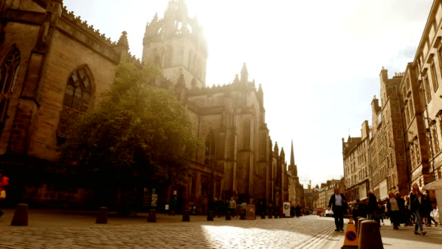 downtown and cathedral in edinburgh, scotland - edinburgh scotland stock videos & royalty-free footage