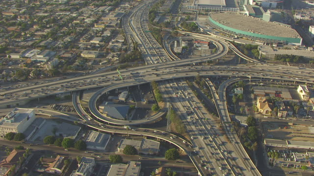 WS AERIAL POV Downtown and freeway interchangenter at Los Angeles, California