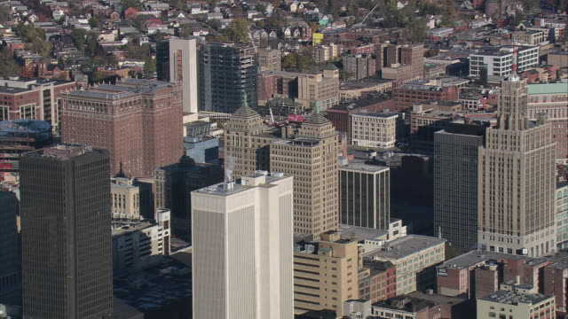 aerial downtown and skyscrapers / buffalo, new york, united states - buffalo new york state stock videos & royalty-free footage