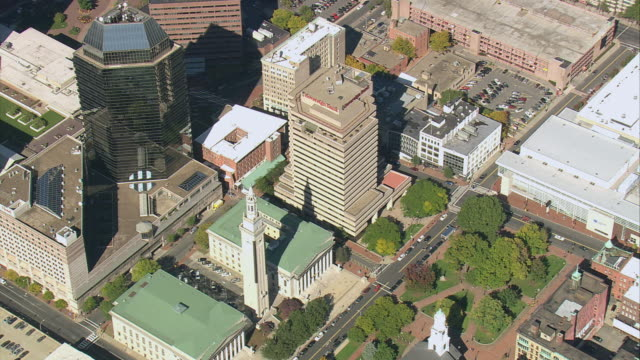 aerial downtown area and rooftops of commercial buildings including municipal building / springfield, massachusetts, united states - springfield massachusetts stock videos & royalty-free footage