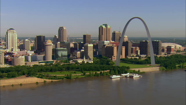AERIAL Downtown area with Gateway Arch, Mississippi River, and skyline/ St. Louis, Missouri