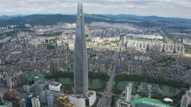 downtown area with seokchon lake, lotte world, lotte world tower / jamsil-dong, songpa-gu, seoul, south korea - street name sign stock videos & royalty-free footage