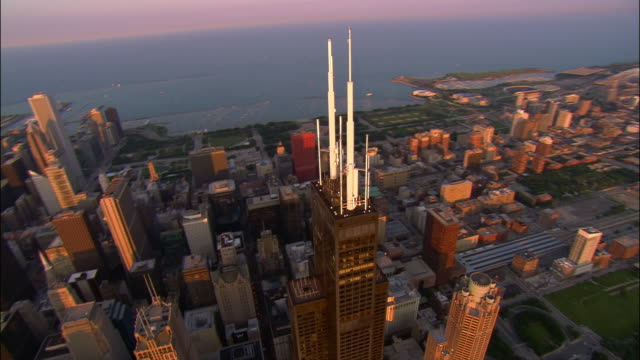 AERIAL, downtown at sunset, Chicago, Illinois, USA