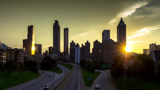 Downtown Atlanta Skyline Sunset Time Lapse