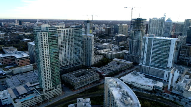 Downtown Austin , Texas aerial drone view above Skyscrapers winter day
