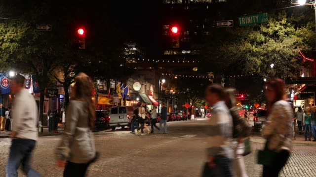 downtown austin texas at night - nightlife stock videos & royalty-free footage