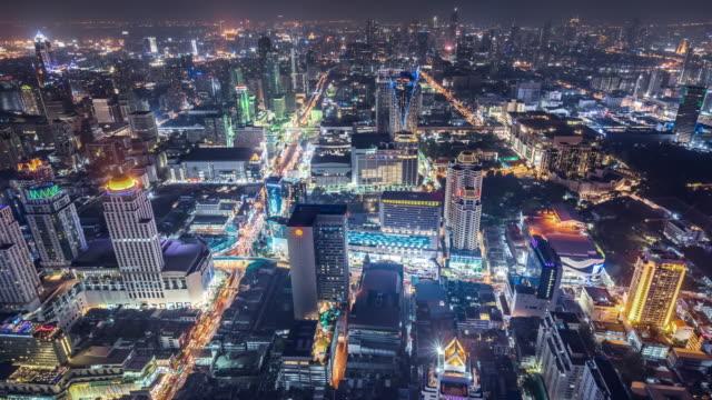 t/l ws ha zo downtown bangkok at night / bangkok, thailand - zoom out stock videos & royalty-free footage